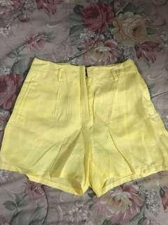 Mango yellow linen shorts