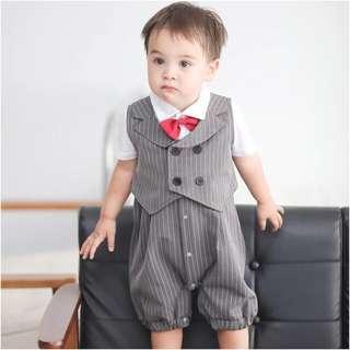嬰兒衣服春夏新生兒滿月衫0-3個月男寶寶連體衣 純棉紳士百日宴 禮服 拍照衫