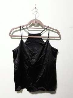 Black Satin Flowy V-neck Camisole
