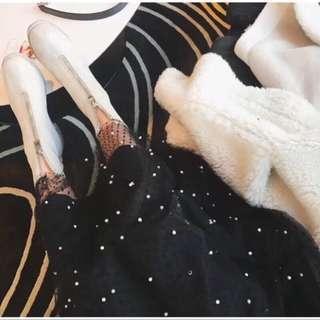 🚚 珍珠黑色網紗紗裙