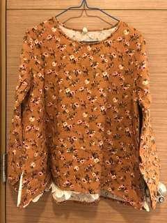 全新, 無著過, 韓國牌子BODDARI黃色碎花衫, 胸大約44吋, 肚大約46吋, 衫長大約24吋, 韓國制, 綿料