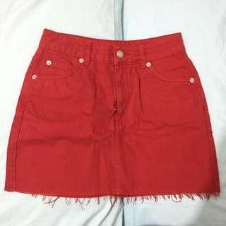 Topshop Cherry Red Mini Skirt