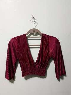 Red/Wine Electric Plunging Crop Top
