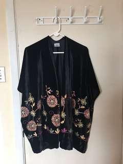 Velvet Floral Embroidered Kimono Cardigan