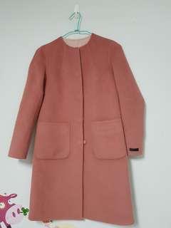 🚚 giordano ladies粉色雙面羊毛.兩面穿.無領手工羊毛大衣.圓領大衣