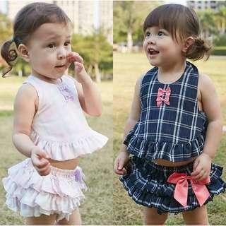 夏日套裝 2019春夏新款嬰幼兒造型百折肚兜+蛋糕裙女寶套裝 BB女 可愛套裝