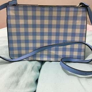 Mango Blue Gingham Bag