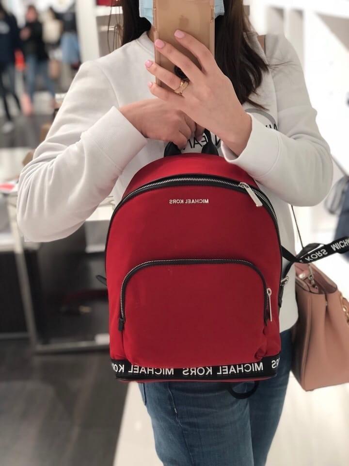 561b81123bdf 275 P.O.SALE! Michael Kors Connie Medium Nylon Backpack- Chili ...
