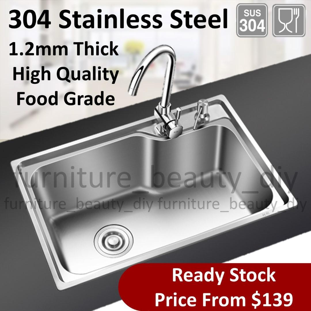Sensational 304 Food Grade Stainless Steel Kitchen Sink Set Home Home Interior And Landscaping Palasignezvosmurscom
