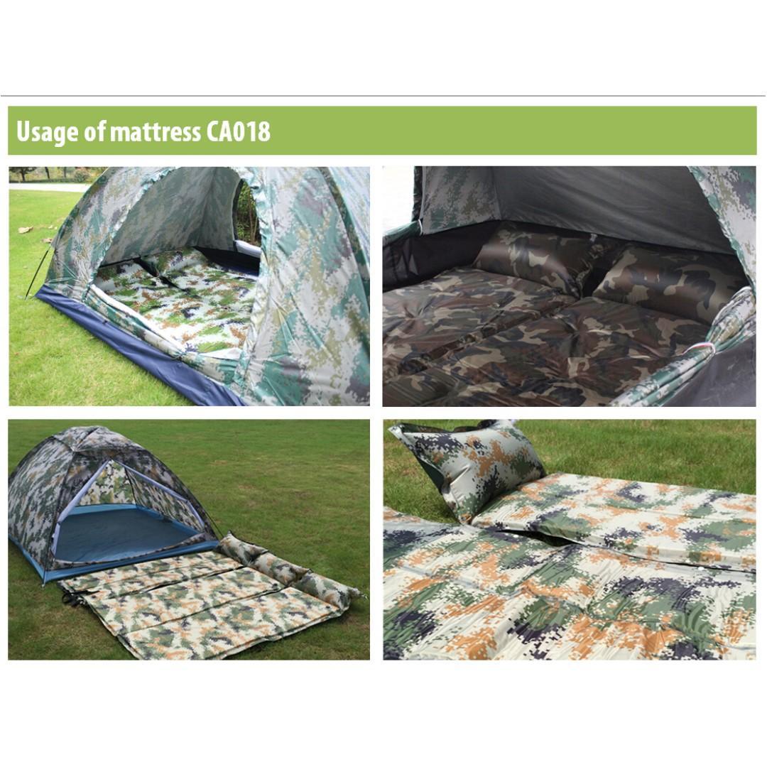 露營用品 睡墊 床舖 camping mattress travel 迷彩/淨色 910g 單人自動充氣 空氣 超舒服 帶枕頭 野餐 戶外活動 CA018