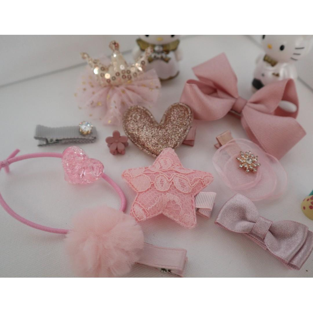 ( New arrival ) Brand New girls hair accessories in 10 pieces ( baby pink colour) # BK305