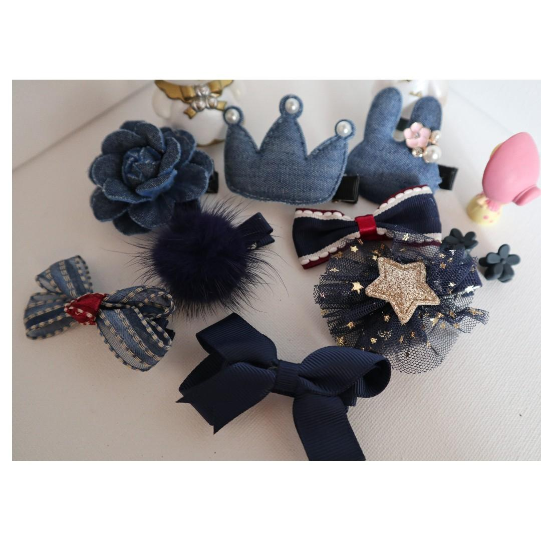 ( New arrival ) Brand New girls hair accessories in 10 pieces ( Navy colour ) #BK302