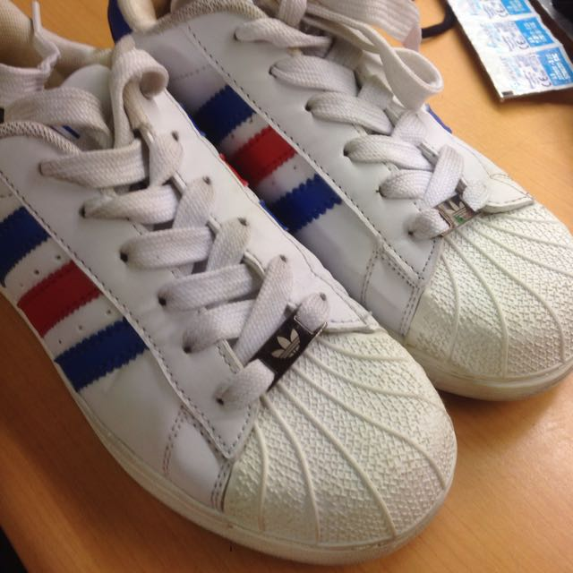 buy popular 897c7 8dd84 Adidas Superstar Blue And Red Stripes, Women s Fashion, Shoes ...