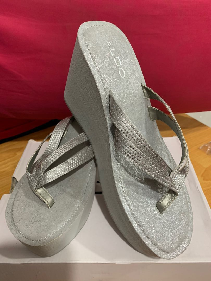 dbf8d721d67 ALDO Grey silver Wedge slipper
