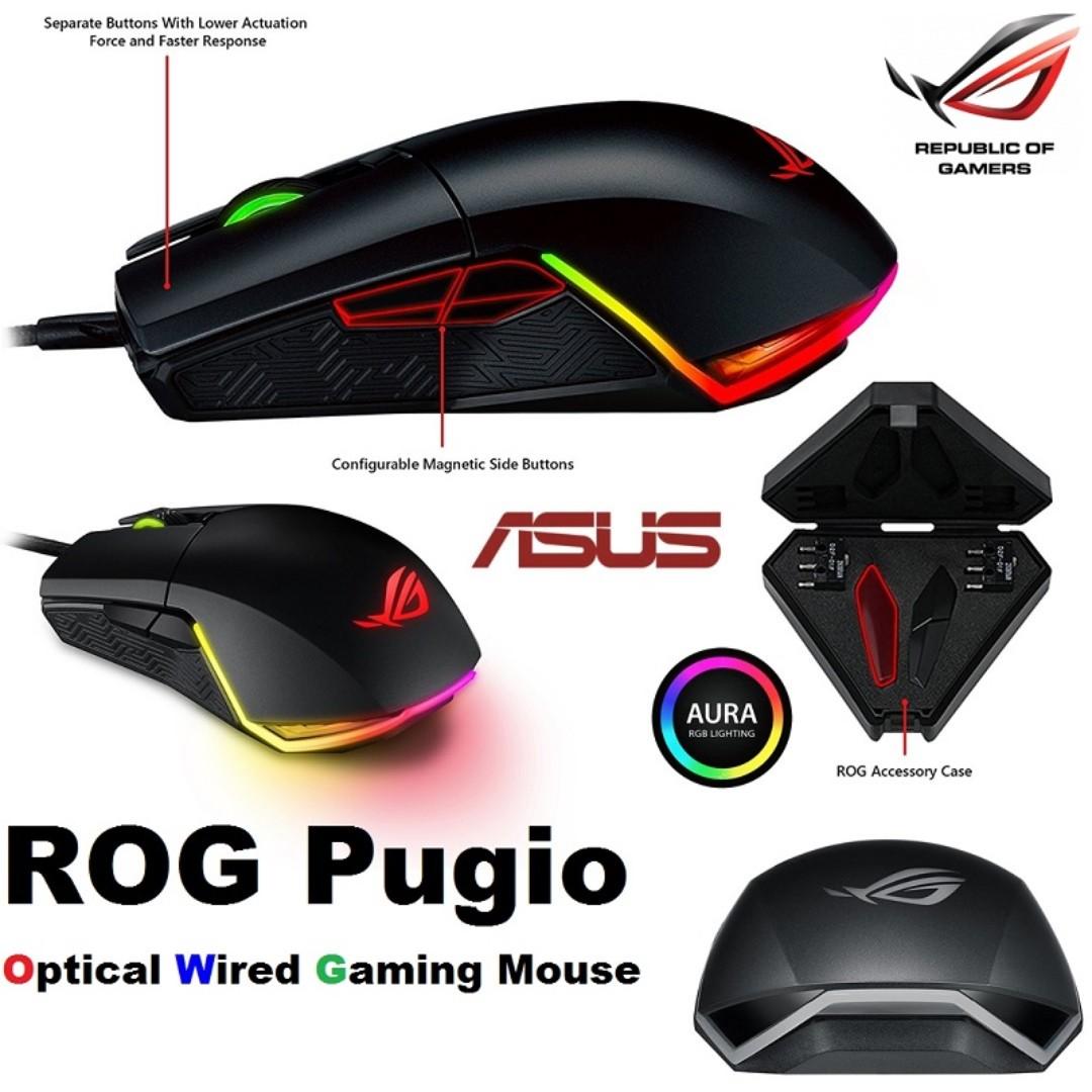 c36745e51f8 ASUS ROG Pugio Aura RGB USB Wired Optical Ergonomic Ambidextrous ...