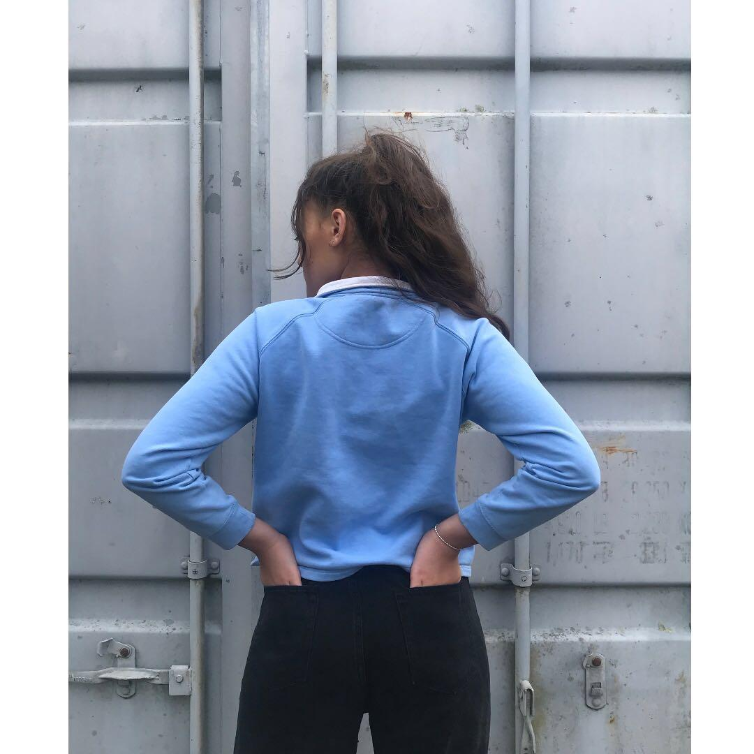AUTHENTIC Maya/Baby blue Champion Quarter Zip Pullover