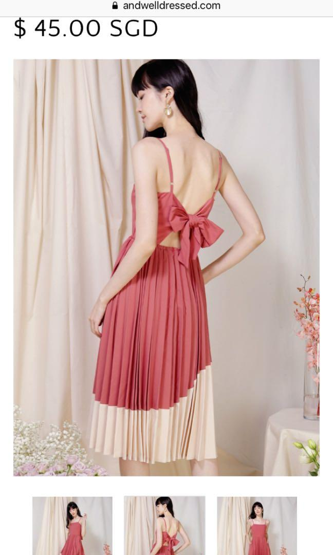 AWD Eternity Tie Back Pleated Dress in Rose/Sand S