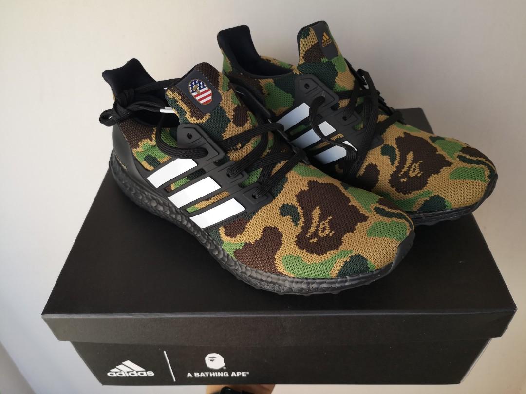 new product 6c807 cffd7 Bape x Ultraboost Green Camo size 9, Mens Fashion, Footwear