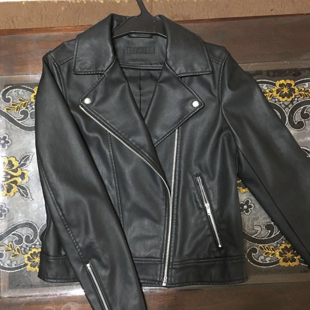 a2ea45deb Black Faux Leather Jacket (Uniqlo)
