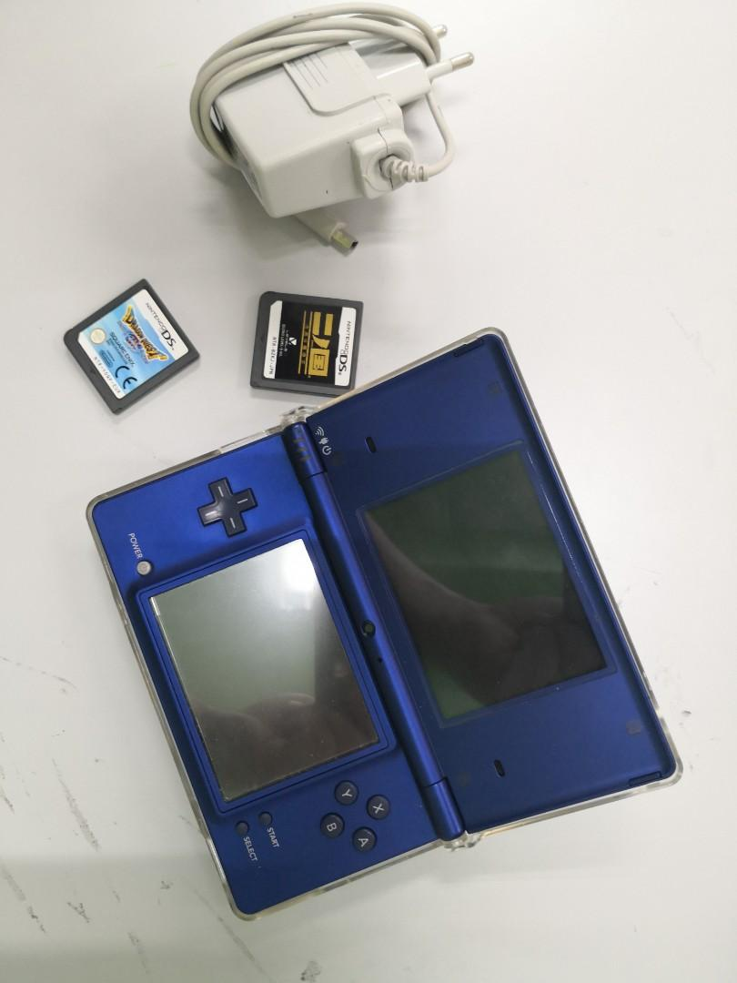 Blue Nintendo Dsi with 2 games