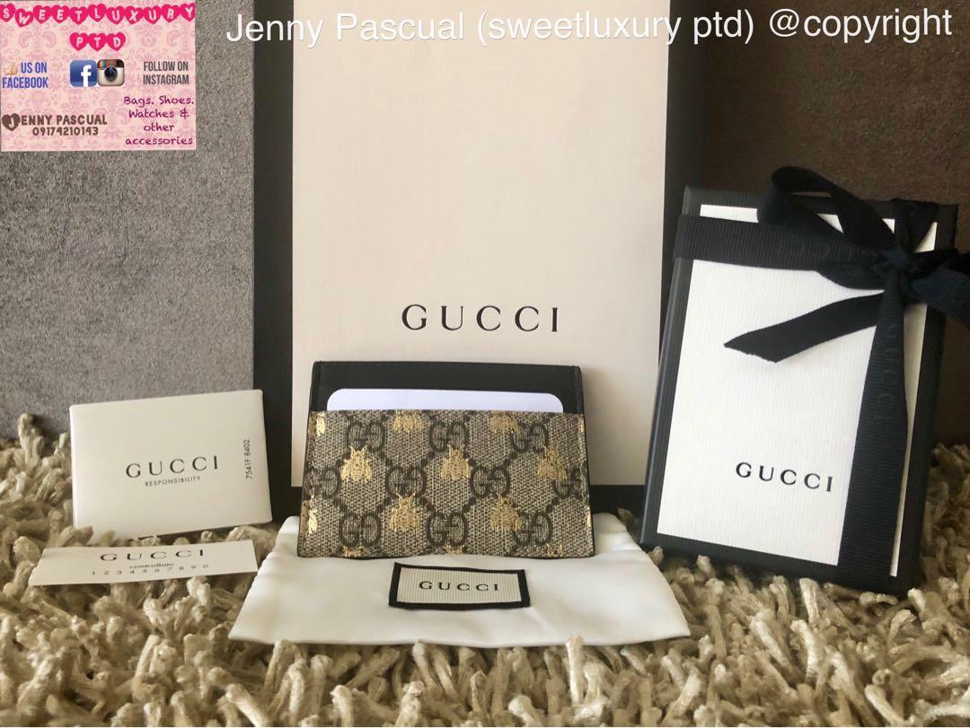brand new aca53 62358 BRANDNEW GUCCI GG SUPREME BEES CARD CASE on Carousell