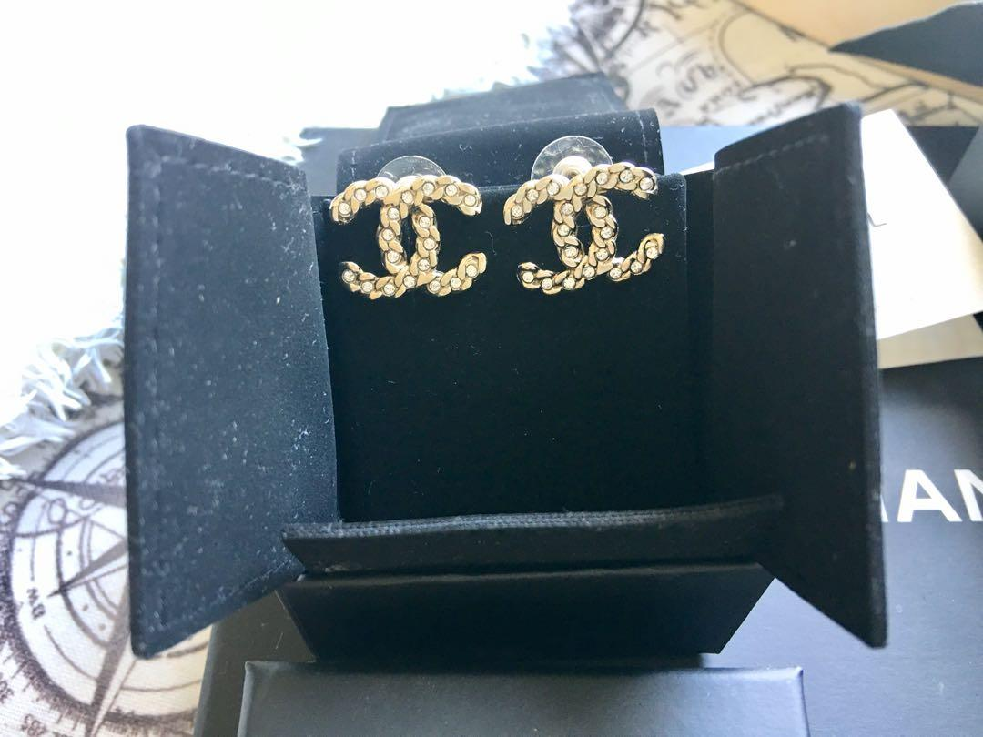 Chanel CC Earrings Large size with Crystalsi