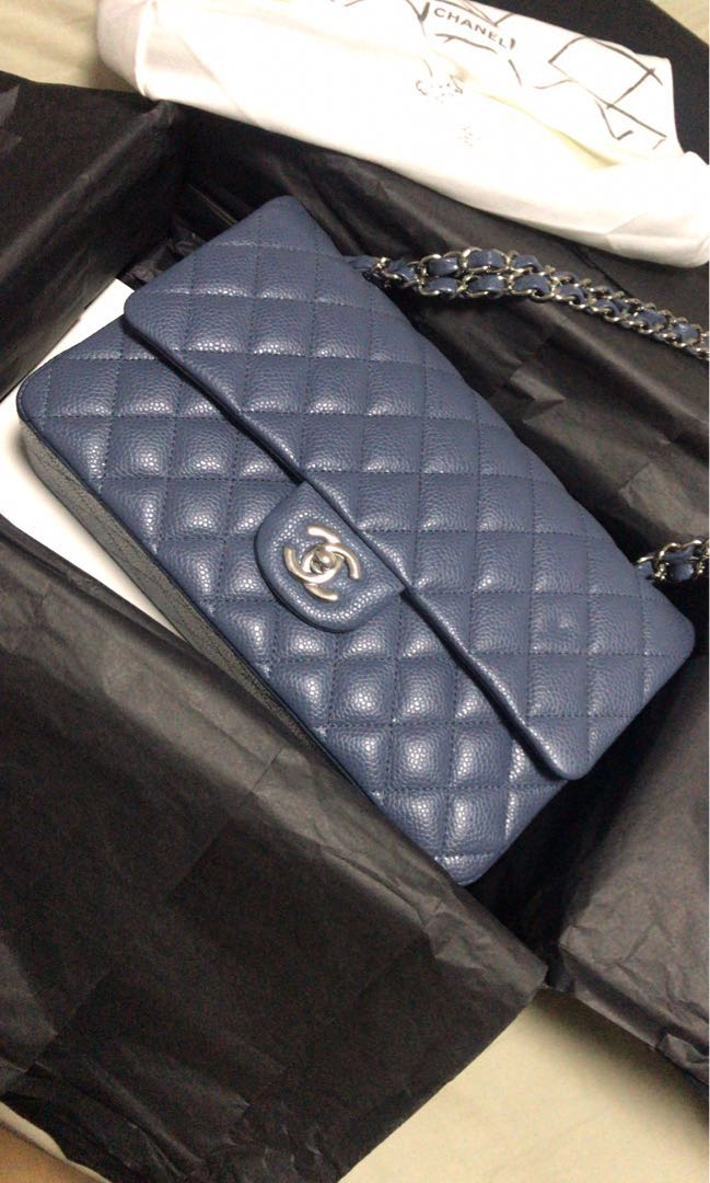 67807364a3970b Chanel medium classic caviar leather flap bag silver hardware, blue grey  color, Luxury, Bags & Wallets, Handbags on Carousell
