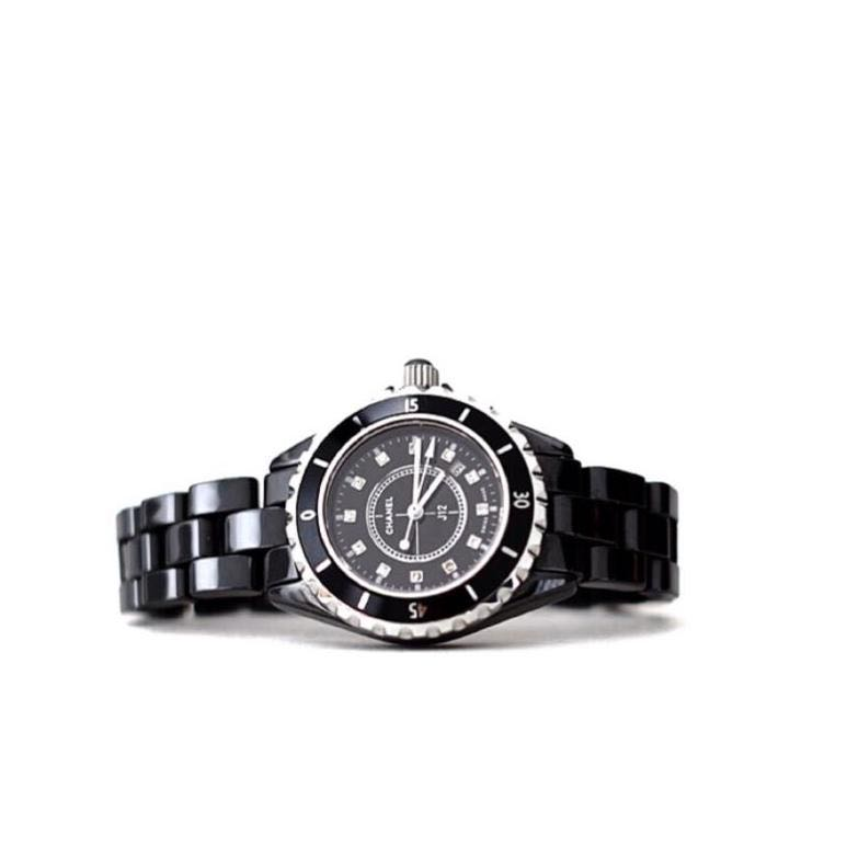 Chanel Watch J12 Black With Diamond Dial 30mm Was Bought 8000