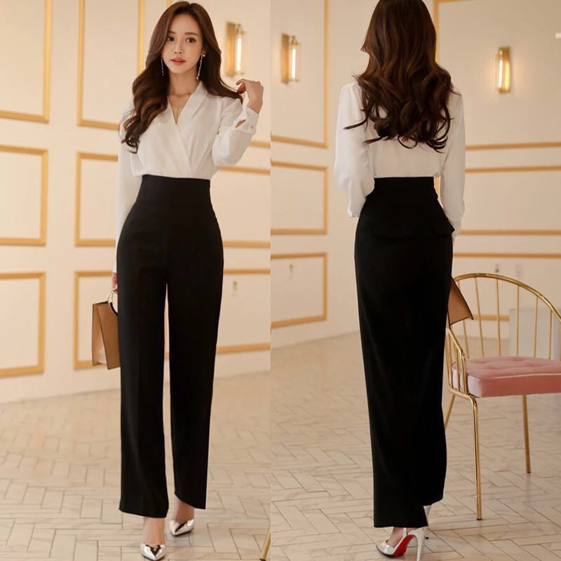 f94fece88210 CLEARANCE] Two-piece office lady wear: White blouse and high waist ...