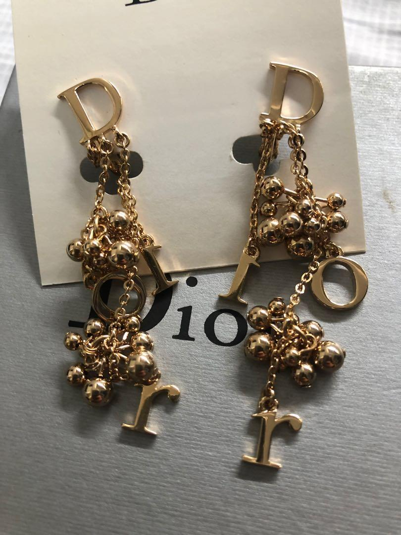 Dior new 全新夾耳環 clip dangling earring gold authentic new
