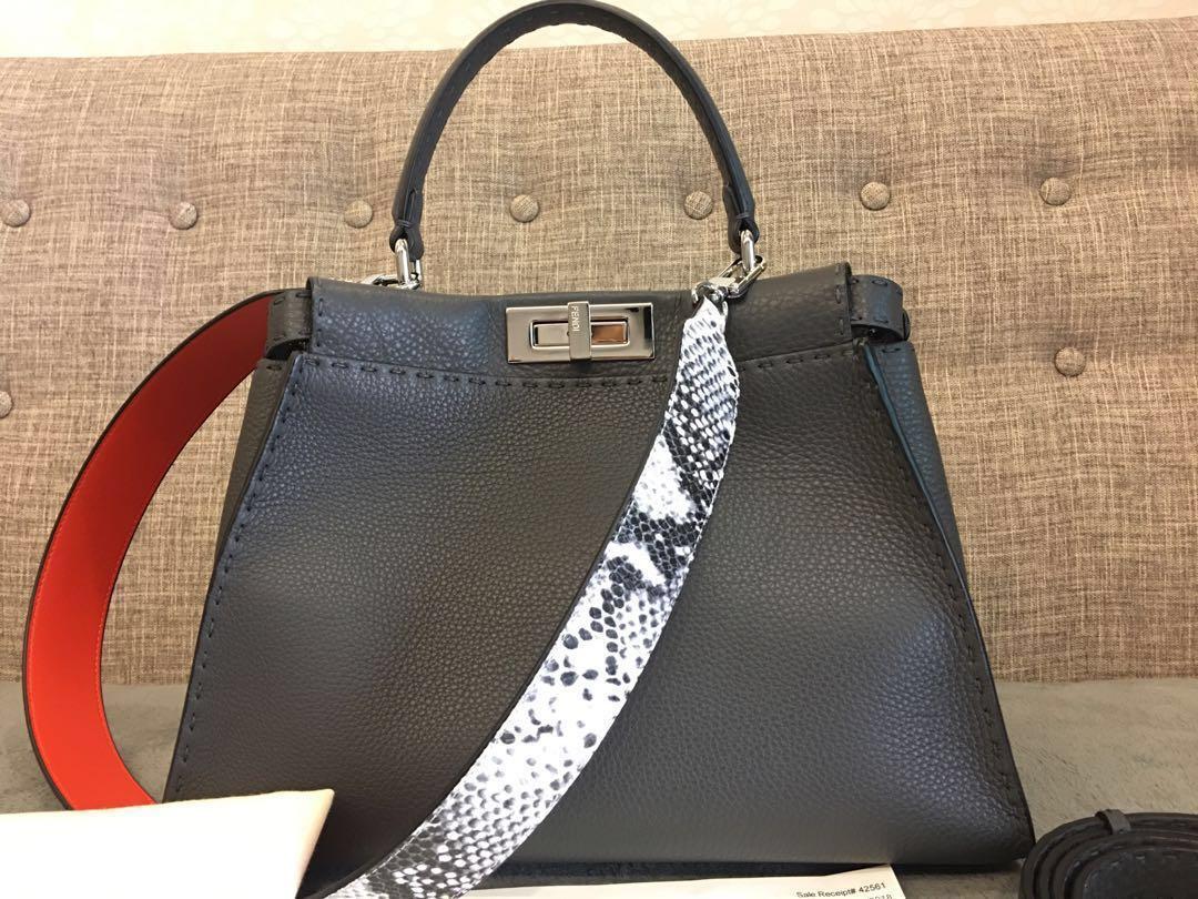 b716b56c75 FENDI SELLERIA PEEKABOO - Asphalt Grey Roman Leather, Luxury, Bags & Wallets,  Handbags on Carousell