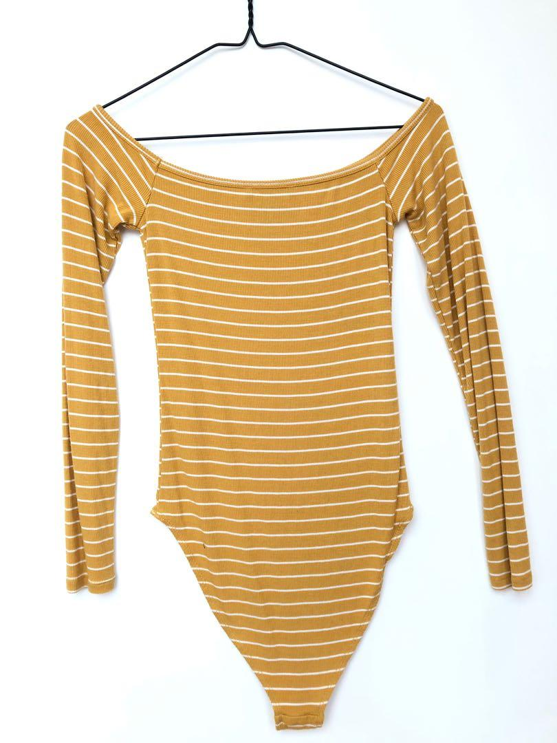 Forever 21 Yellow and white striped long sleeve bodysuit