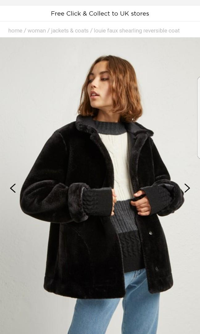 French Connection Black Shearling Jacket