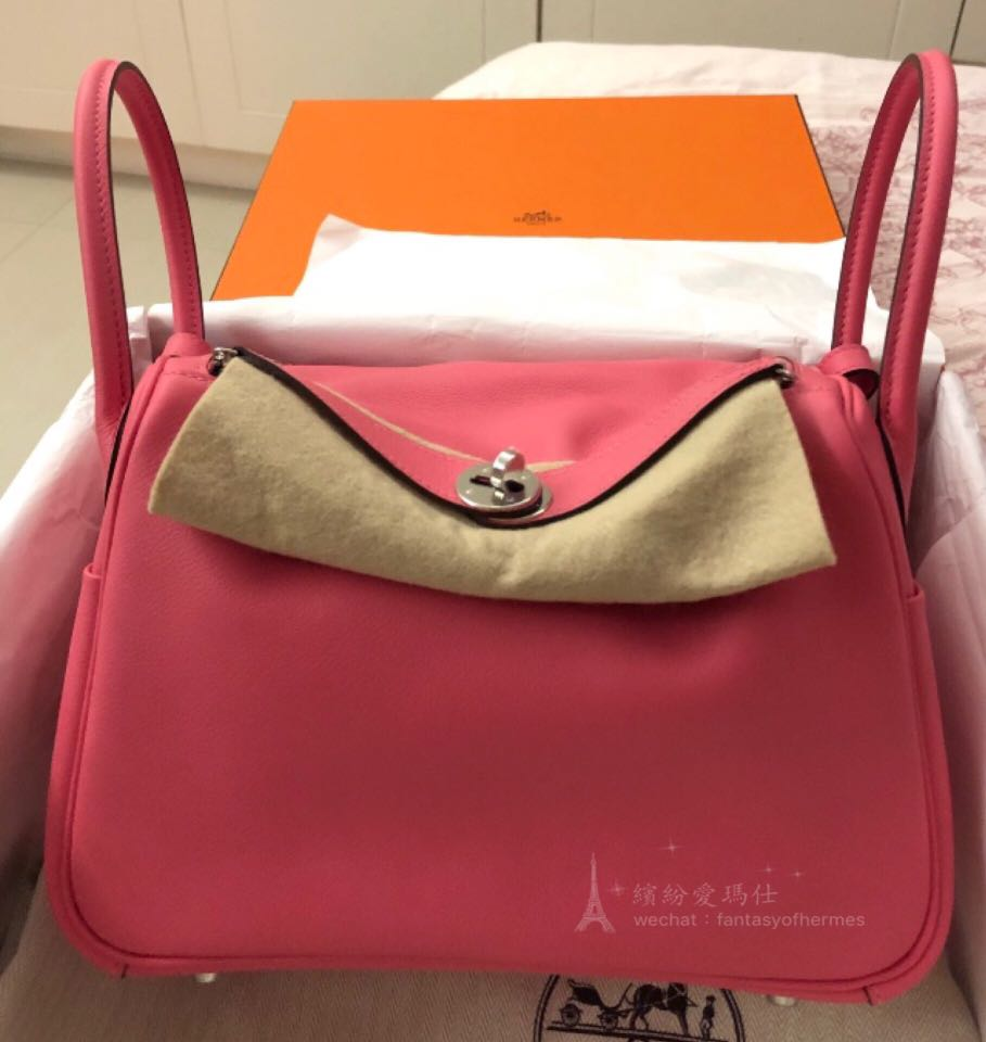 8a63280f1966 全新Hermes Lindy 26cm 8W Rose Azalee 🌸 Evercolour Leather with ...