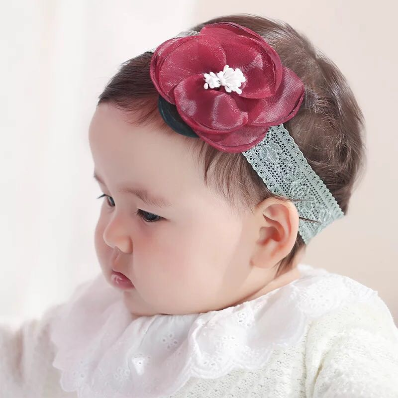 🌟INSTOCK🌟 Korean Red Maroon Floral Flower Bud Lace Headband ... 6e4b4cdf226