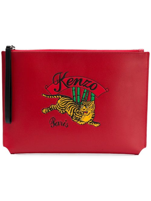 01f00778a49 Kenzo Rouge Moyen Tiger Jumping Clutch, Luxury, Bags & Wallets ...