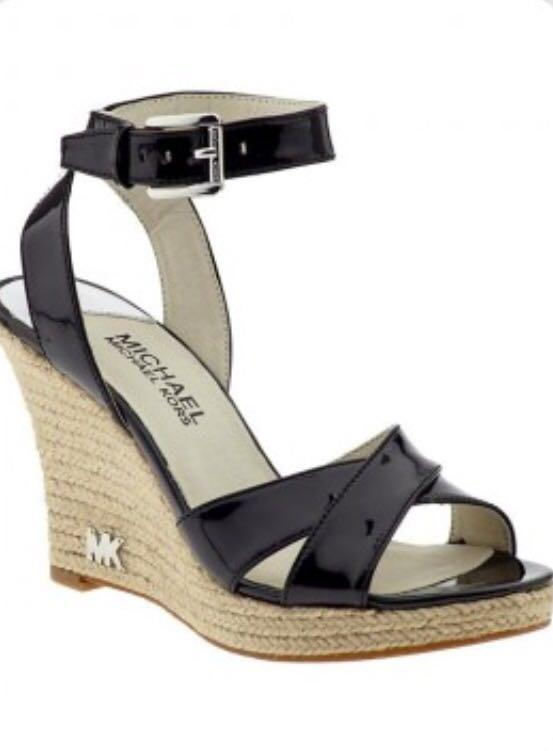 Michael Kors Black Wedges with Ankle Strap Size 11