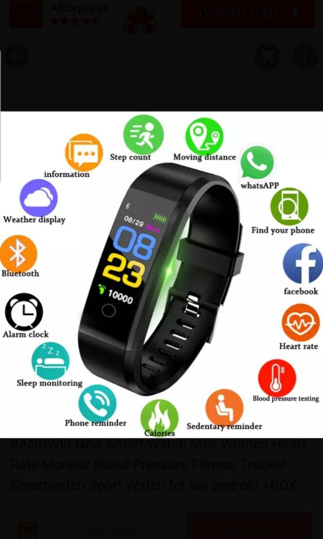 ec2b1fedf New Smart Watch Men Women Heart Rate Monitor Blood Pressure Fitness ...