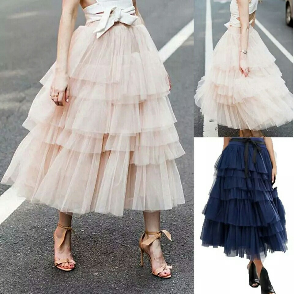 1d22af108 Petticoat Women Tutu Tulle Skirt Layers Vintage Mid-Calf Rockabilly ...