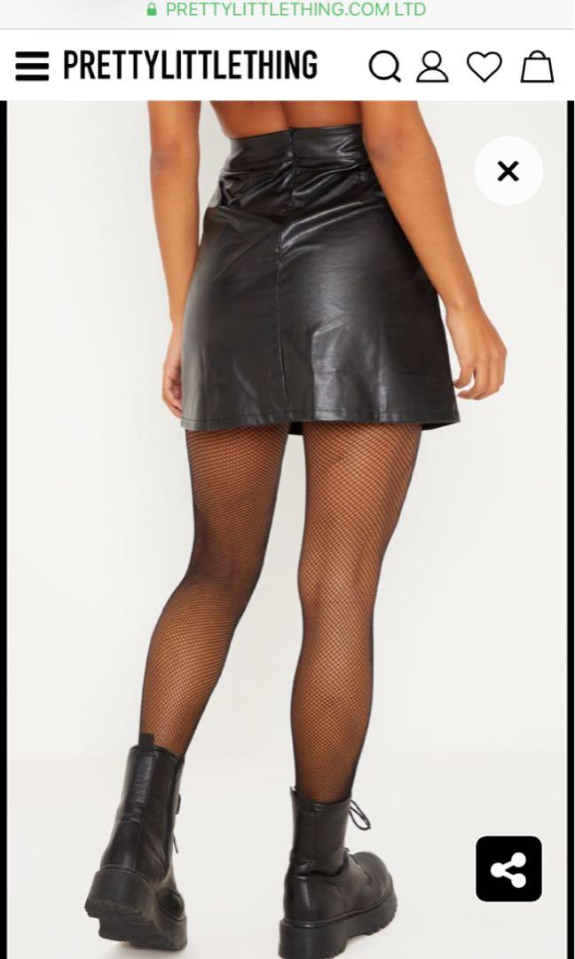 PRETTYLITTLETHING.COM Black Faux Leather A-Line Mini Skirt size 12