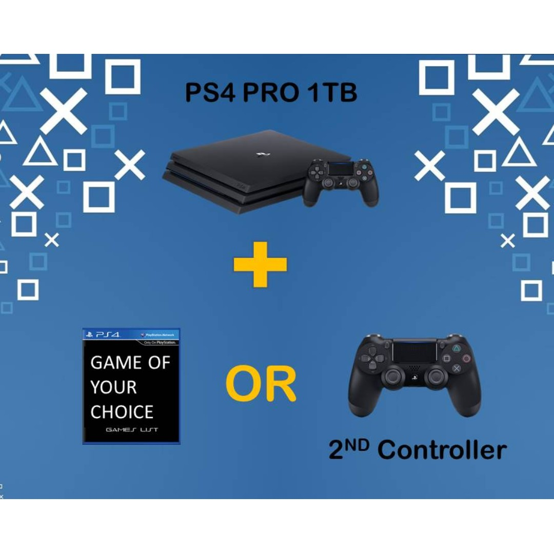 PS4 PRO 1TB Choose Your Own Bundle *GAME Of Your Choice OR Additional  Controller (Brand New With Local Warranty)