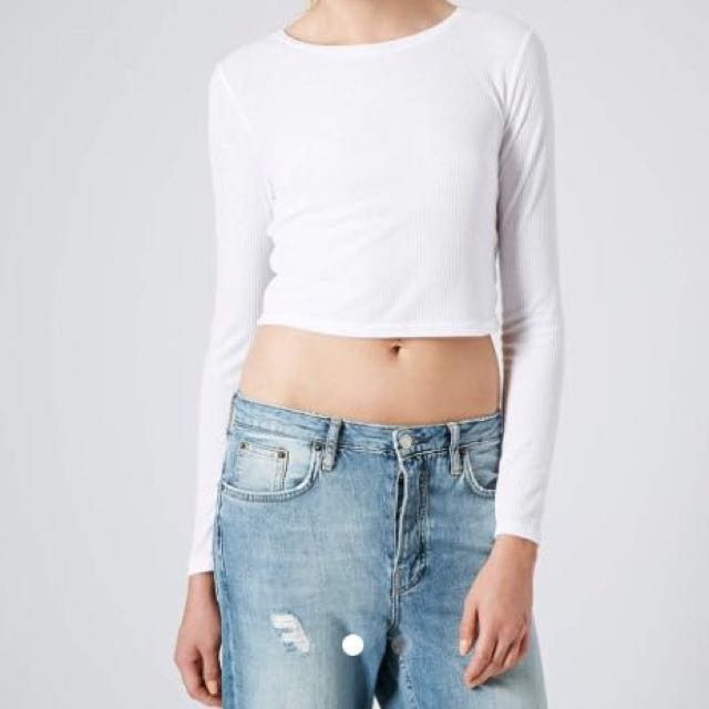355fa5252f3bf0 TOPSHOP White Ribbed Crop Top Long Sleeves, Women's Fashion, Clothes ...