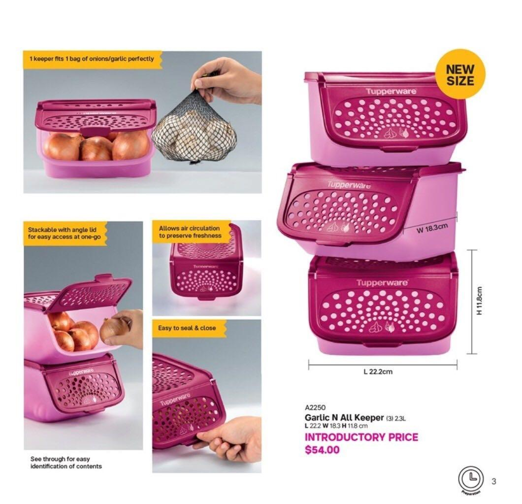 Tupperware Garlic N All Keeper 3 2 3l