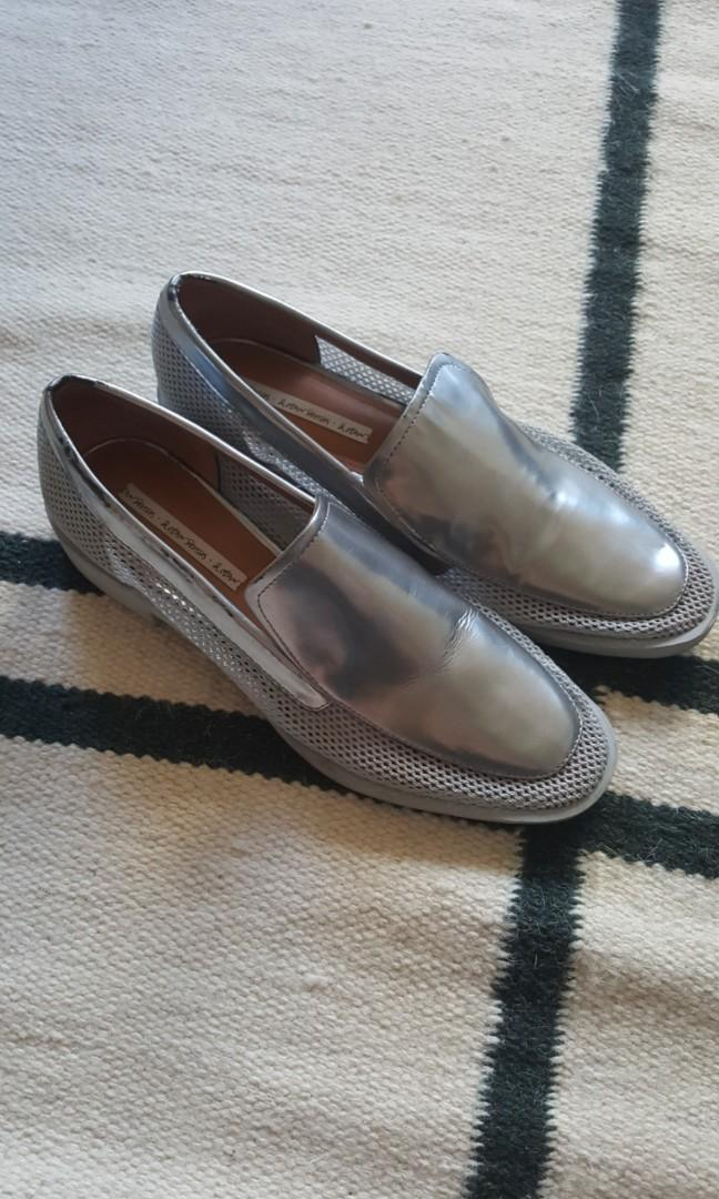 Used size 9 (UK 7) & Other Stories Net and Silver Leather Loafers