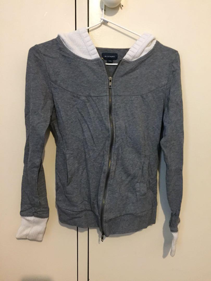 Witchery grey/white zip hoodie jacket size XS