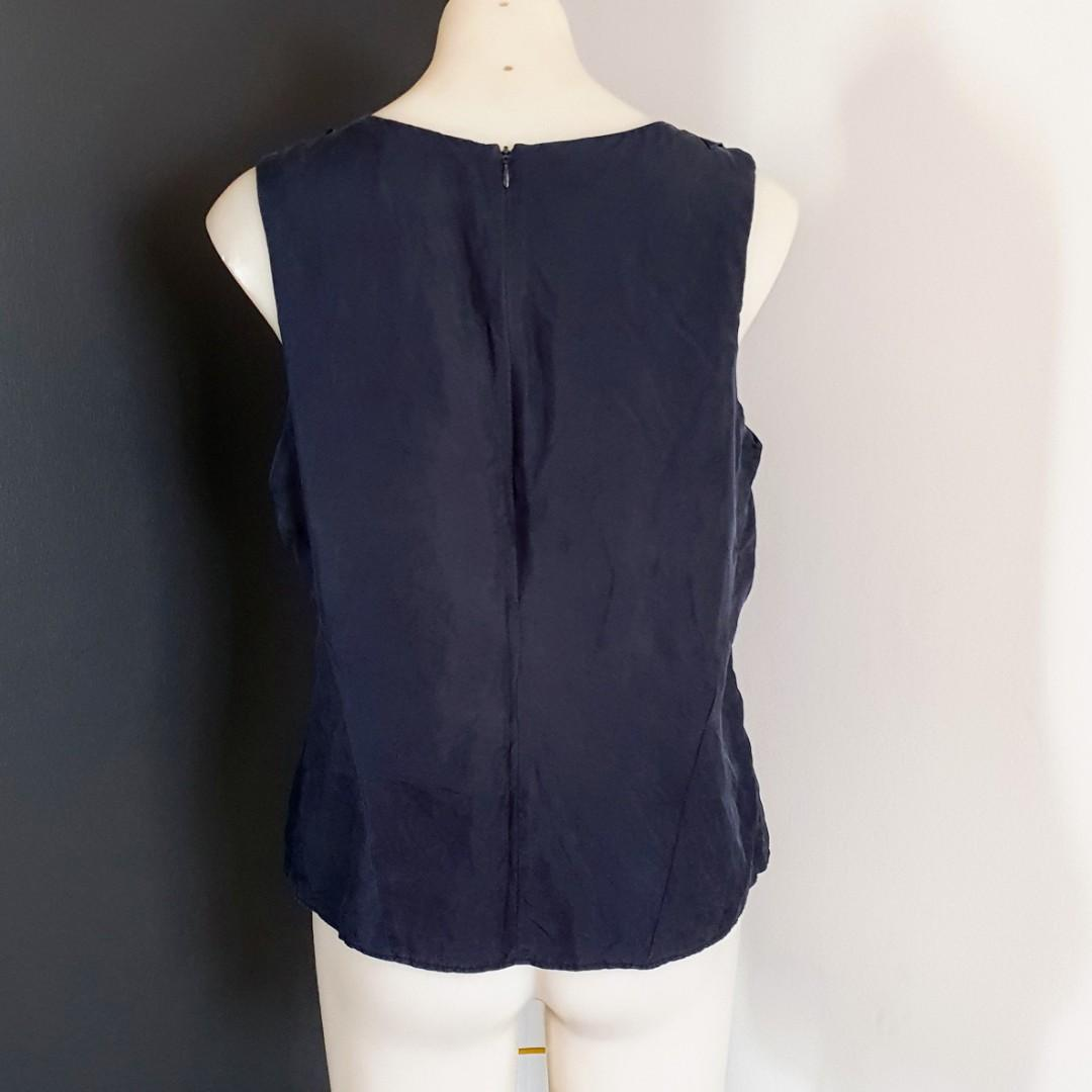 Women's size M 'COUNTRY ROAD' Stunning navy silk ruffles top - AS NEW