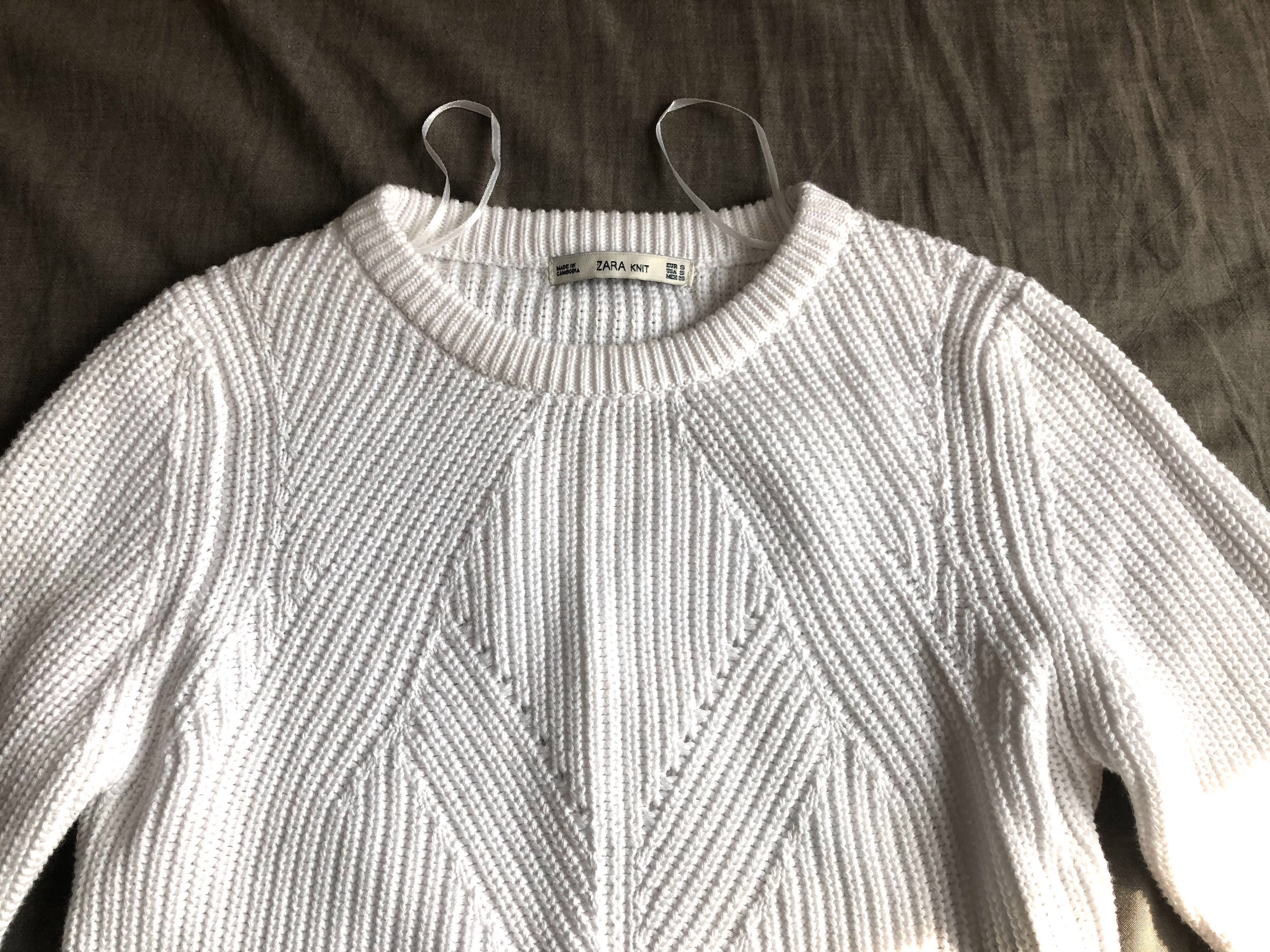 42f73d36ebd9 Zara White Cropped Knit Sweater (size S)