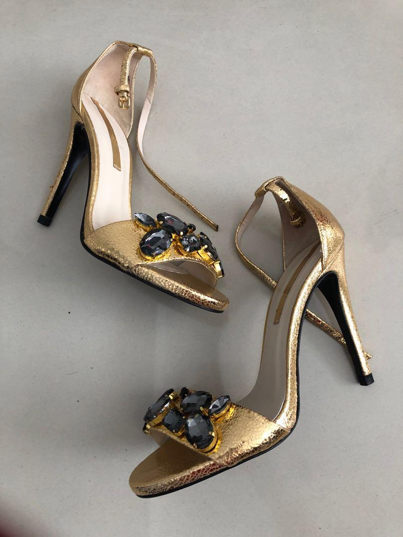 ZARA WOMAN GOLD Stiletto heels