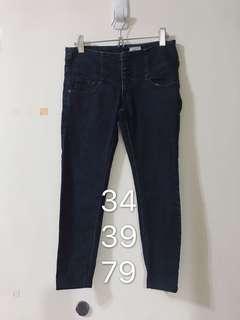 🚚 排扣8分高腰牛仔褲 韓版