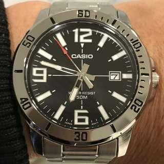 Casio 45mm大錶面 不銹鋼 全新日本返貨正品 膠紙都未搣 Casio 45mm big size  stainless steel made Japanese imports of genuine Brandnew Still with Adhesive tape